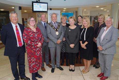 conference speakers with the Mayor of Lisburn, Director of Housing Rights, Janet Hunter, and conference Chair Lorraine Campbell, Supporting Communities