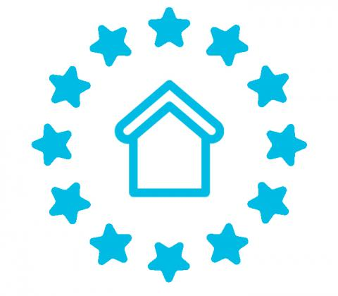 Picture of house surrounded by stars from EU flag